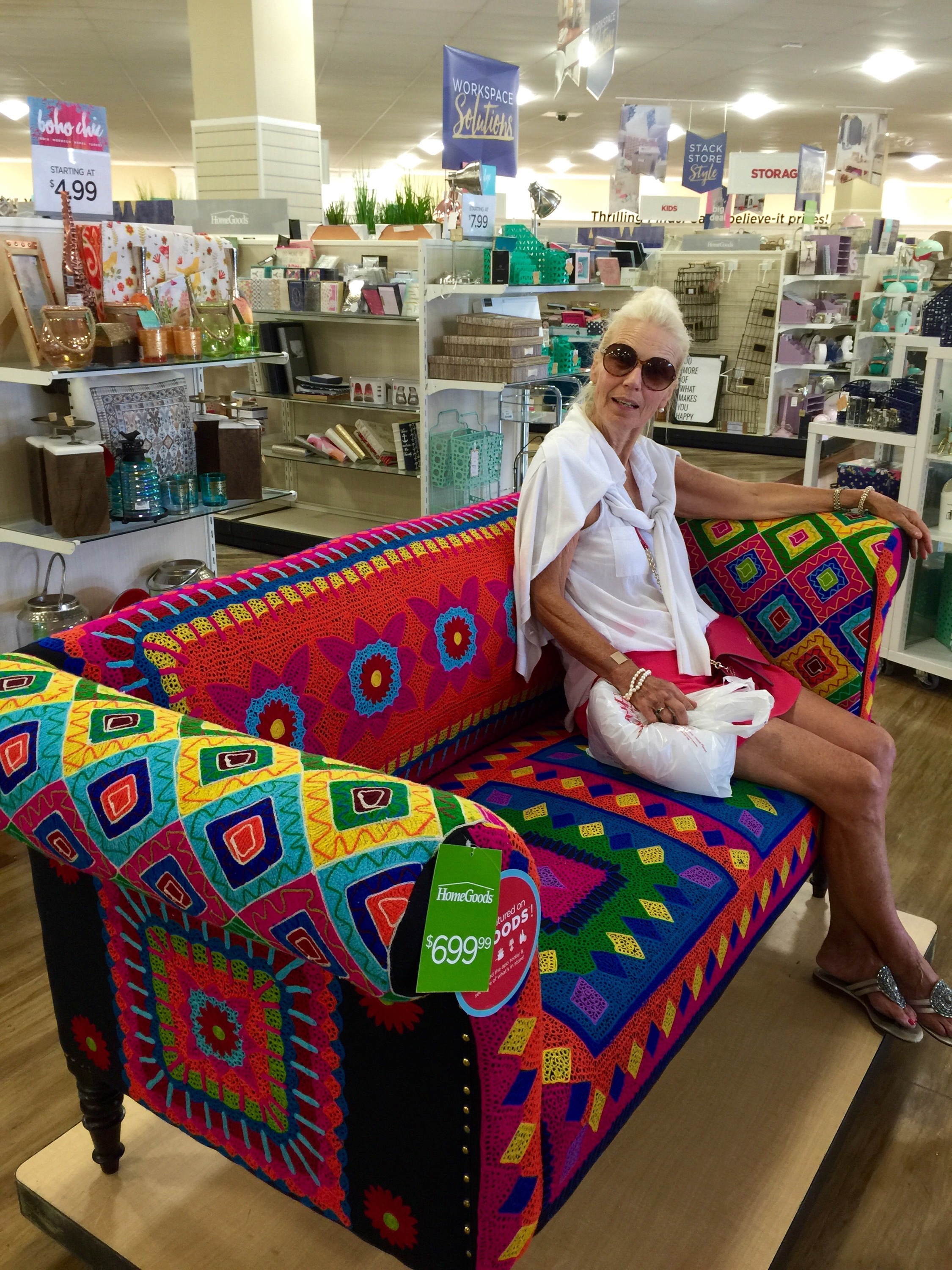I call this work of haphazard art  Classy Lady on Funky Sofa at Home Goods. Home Goods   Praying for Eyebrowz