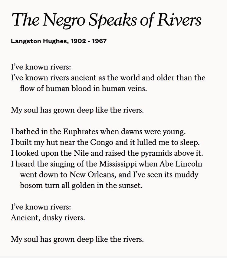 what is the negro speaks of rivers about